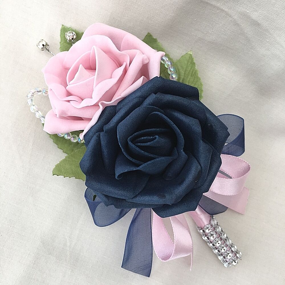 Double Buttonhole Corsage Navy Blue Baby Pink Roses Artificial