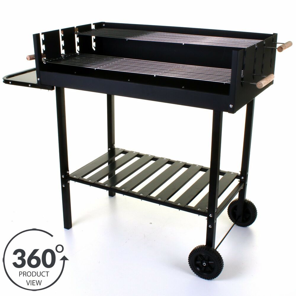 Large Charcoal BBQ Barbecue Trolley BBQ Wheels Outdoor