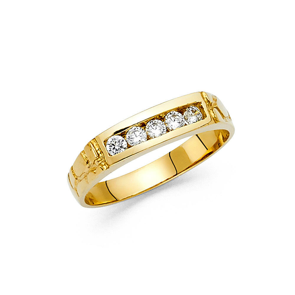 14k Yellow Gold 5 mm Diamond Men s Round Channel Set Nug Wedding Band