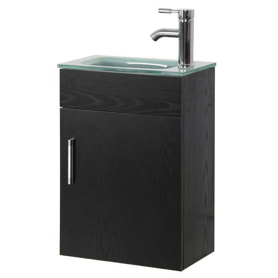 16.6 In. Modern Small Bathroom Vanity With Top Single Sink Wall Mounted Cabinet