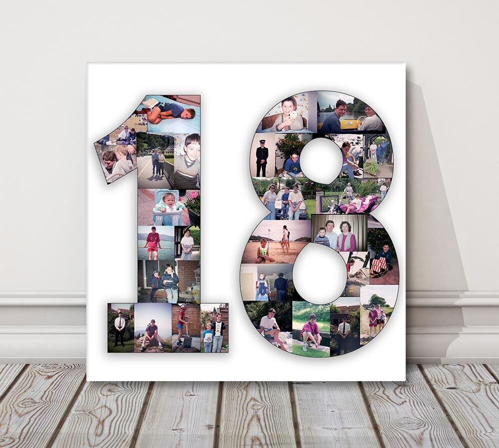 Number photo collage canvas print 1 2 3 18 21 50 70 80 for Photo collage number templates