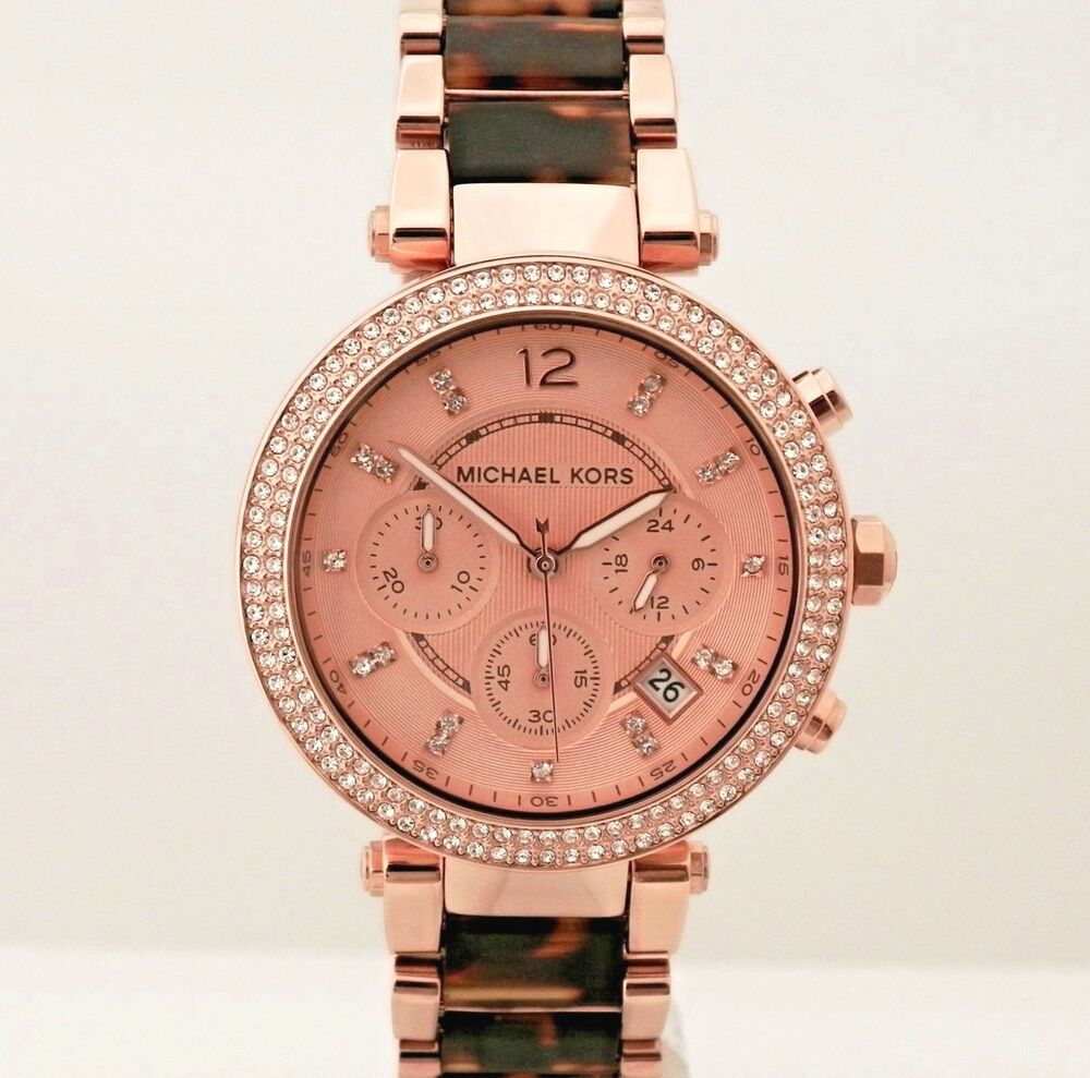 2a86f1aef006 Details about Michael Kors Women s MK5538 Parker Chronograph Rose Gold Tone  Watch
