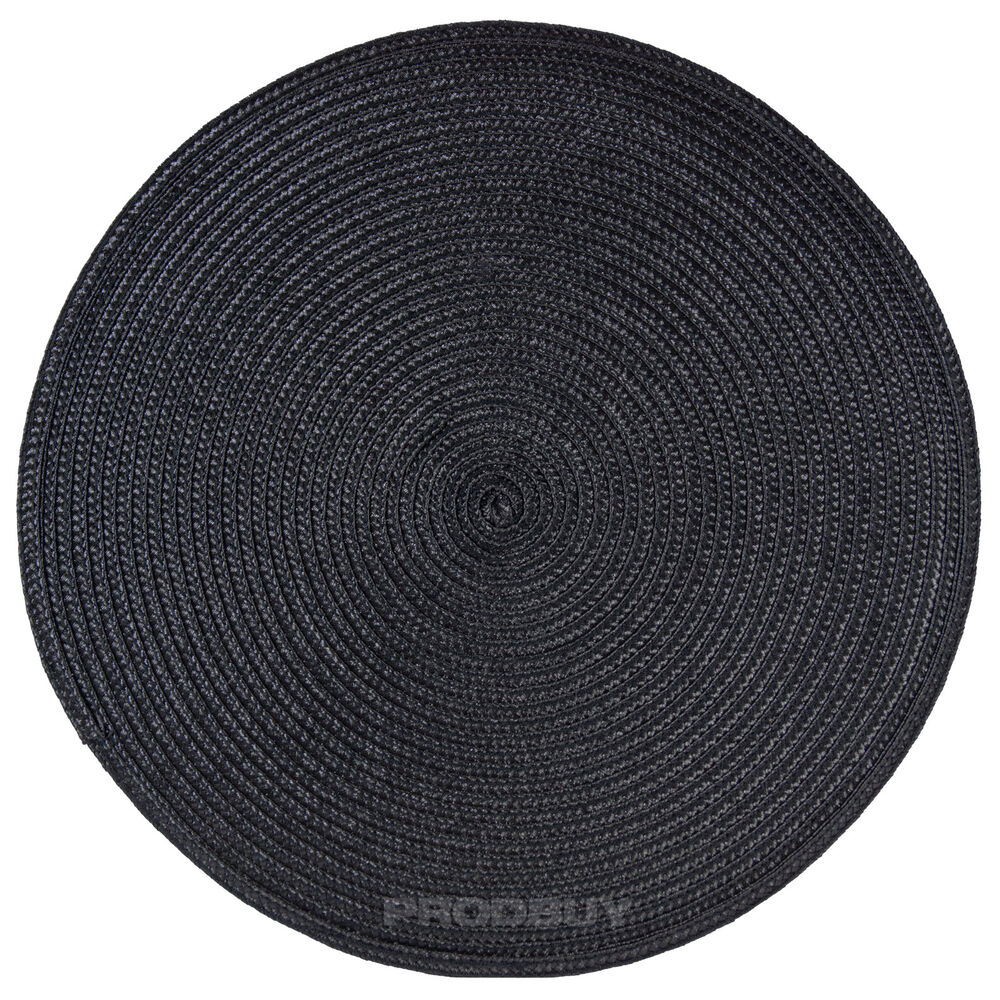 Dining Room Table Placemats: 33cm Round Black Woven Fabric Placemats Place Mats Dining