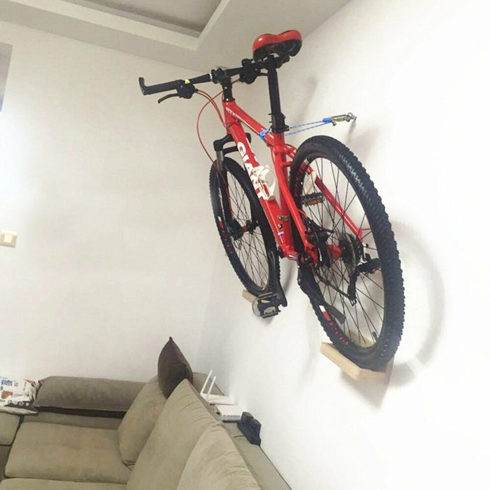 pellor wall mounted bike rack high duty beech wood mtb bicycle show shelf holder ebay. Black Bedroom Furniture Sets. Home Design Ideas