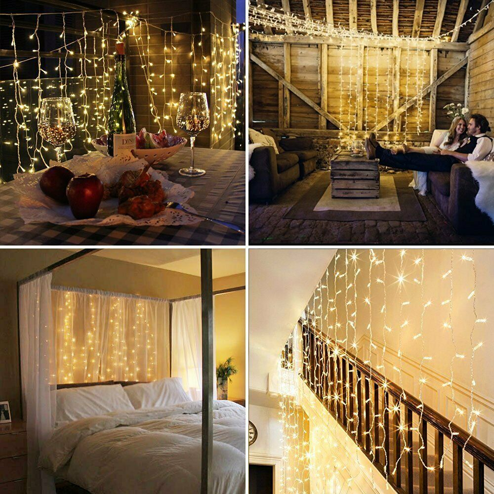 led lichterkette sterne lichtervorhang au en sternenvorhang weihnachten warmwei ebay. Black Bedroom Furniture Sets. Home Design Ideas