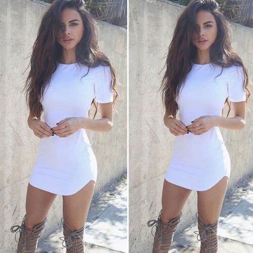 USA Fashion Women Short Sleeve Bodycon Casual Party Evening Cocktail Mini Dress