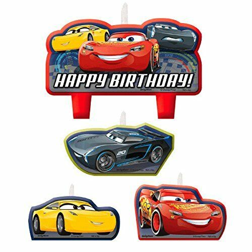 Details About Cars 3 Mc Queen CANDLE SET 4pcs Happy Birthday Party Supplies Cake Topper