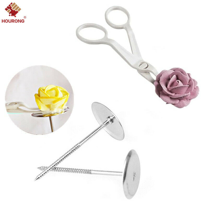 Flower Nail Cake: 3Pcs Flower Icing Cream Stand Scissors Nail Bake Pastry