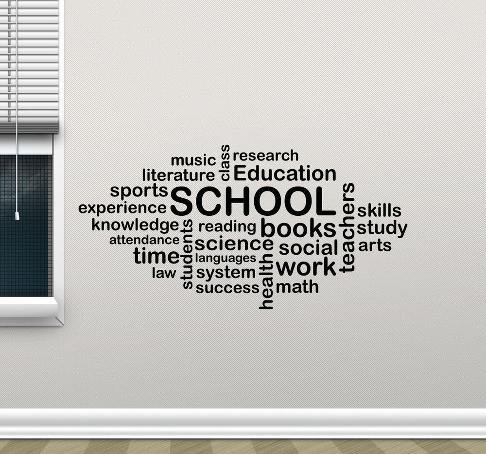 Nice Quotes On Education: School Wall Decal Words Cloud Art Education Quote Vinyl