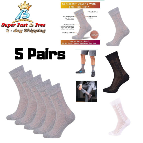 Mens Cotton Dress Socks Breathable Socks Ultra Thin 5 Pack Mens Accessories