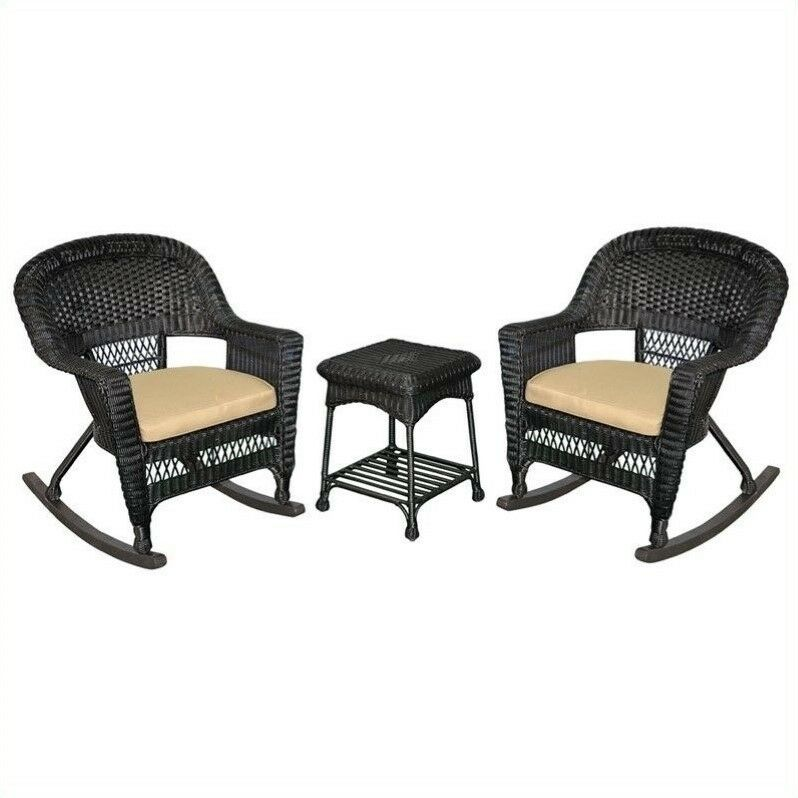 Details About Jeco 3pc Wicker Rocker Chair Set In Black With Tan Cushion Outdoor Rocking