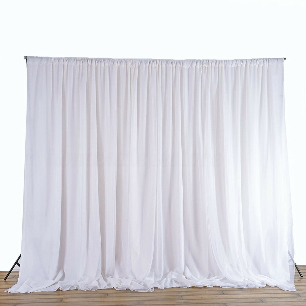 2 4m White Wedding Party Backdrop Curtain Drapes