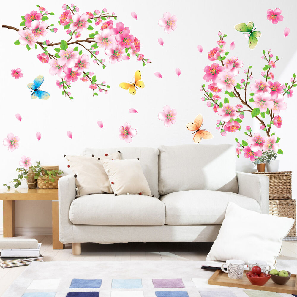 3D Pink CHERRY BLOSSOM WALL Sticker Art Home Decor Graphic