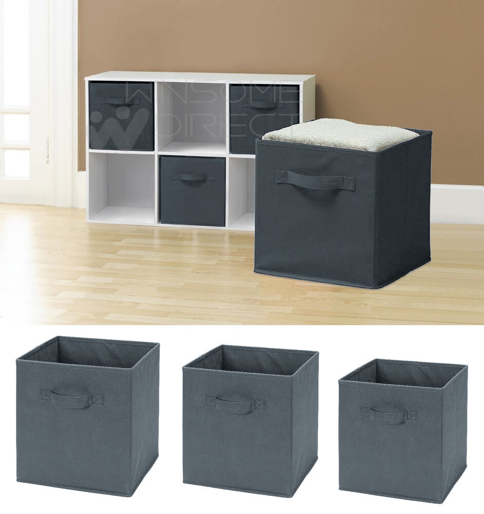 Square Collapsible Canvas Storage Box Foldable Kids Toys: Folding Square Storage Utility Box Fabric Cube Drawer