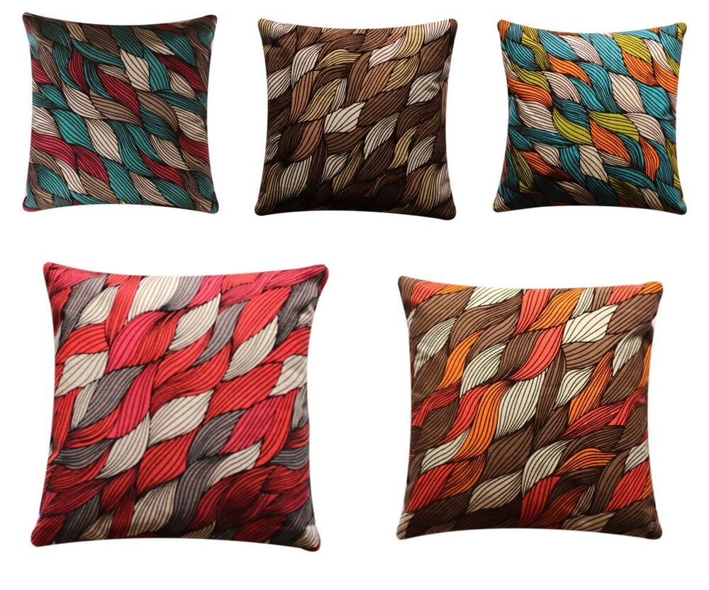 beautiful abstract leaf print colourful 17 x 17 cushion cover pillow sofa bed ebay. Black Bedroom Furniture Sets. Home Design Ideas