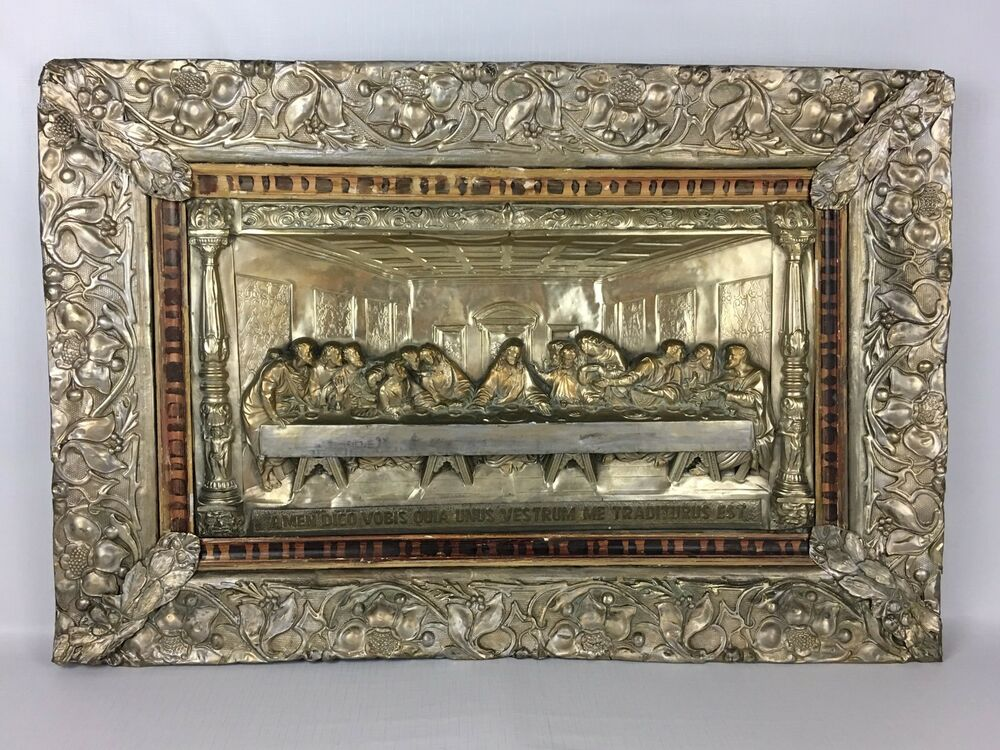 Antique Last Supper Metal Relief Silver Plate Religious
