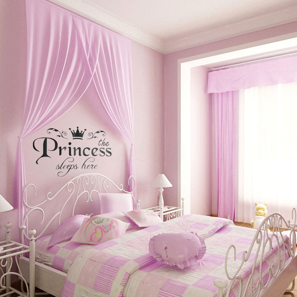 Girly Princess Bedroom Ideas: Removable Vinyl Wall Stickers Girls Fairy Tale Princess