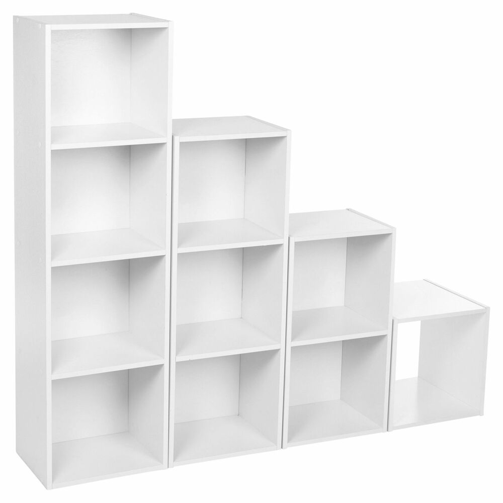 Cube 2 3 4 Tier Classic White Wooden Book Case Display