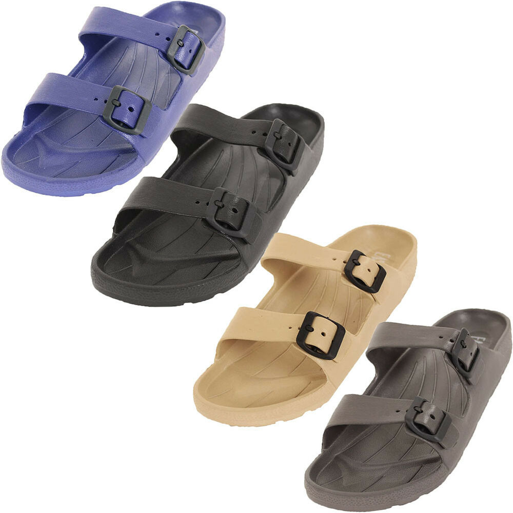 3c424287078dc0 Details about Mens Slip On Buckle Sandals Slides Rubber Shoes Outdoor  Casual Strap Waterproof
