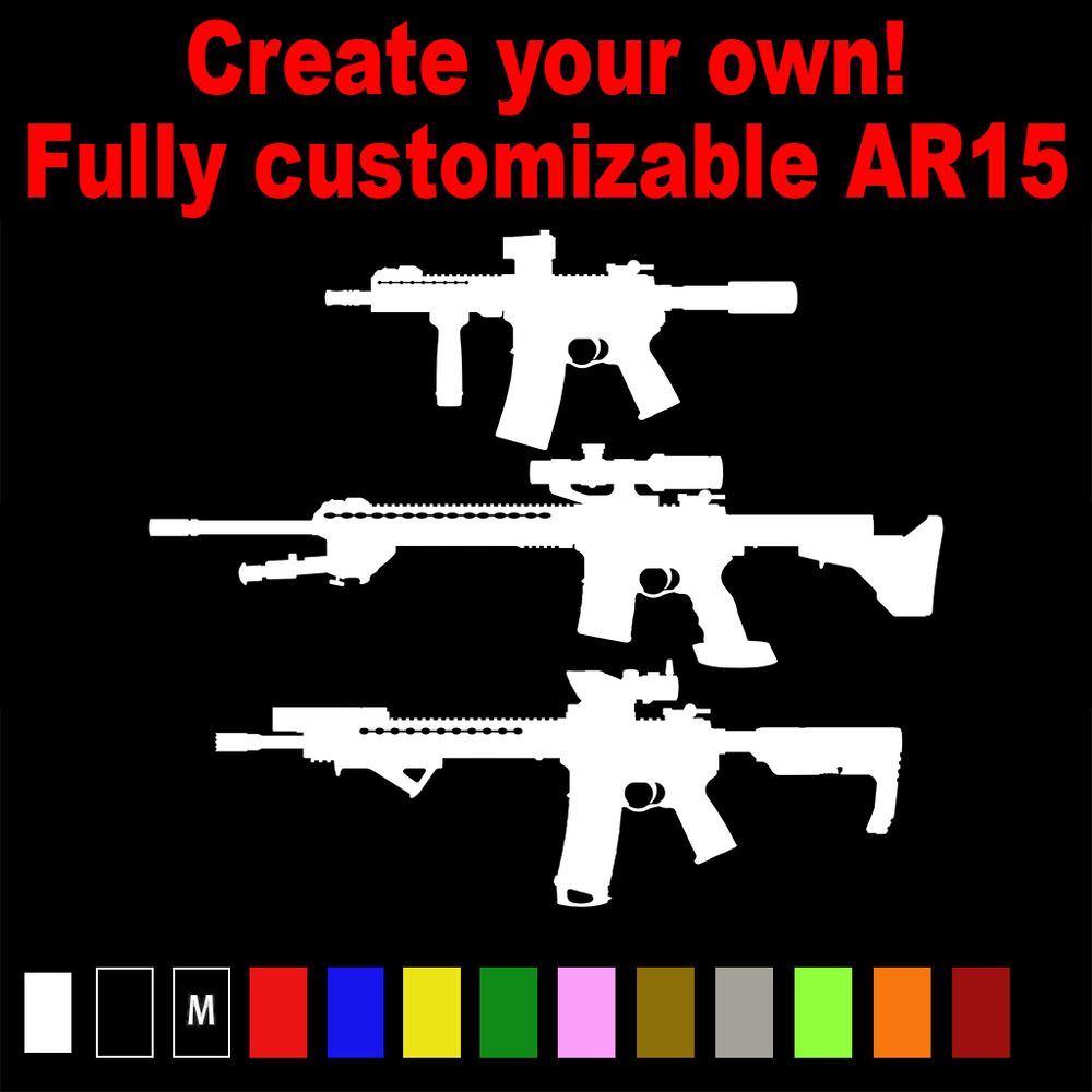 Details about ar 15 vinyl decal customized ar15 rifle ar15 m16 pistol sbr longrange ms 029