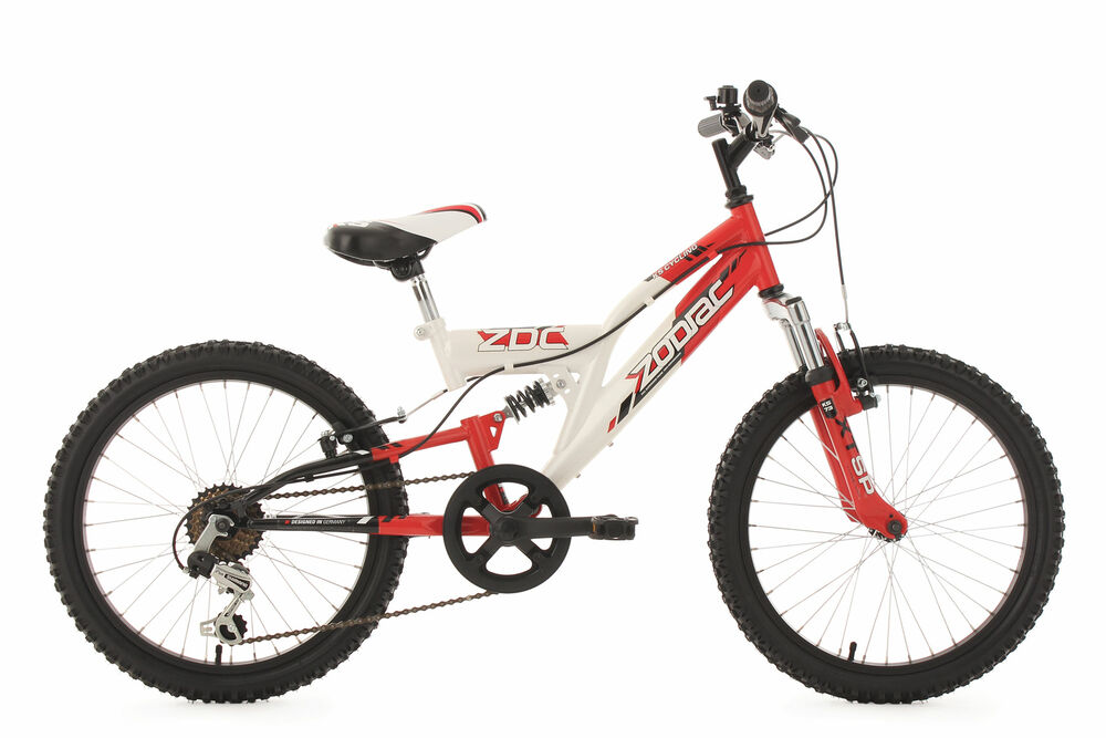 kinderfahrrad mountain bike fully 20 zoll zodiac weiss rot. Black Bedroom Furniture Sets. Home Design Ideas