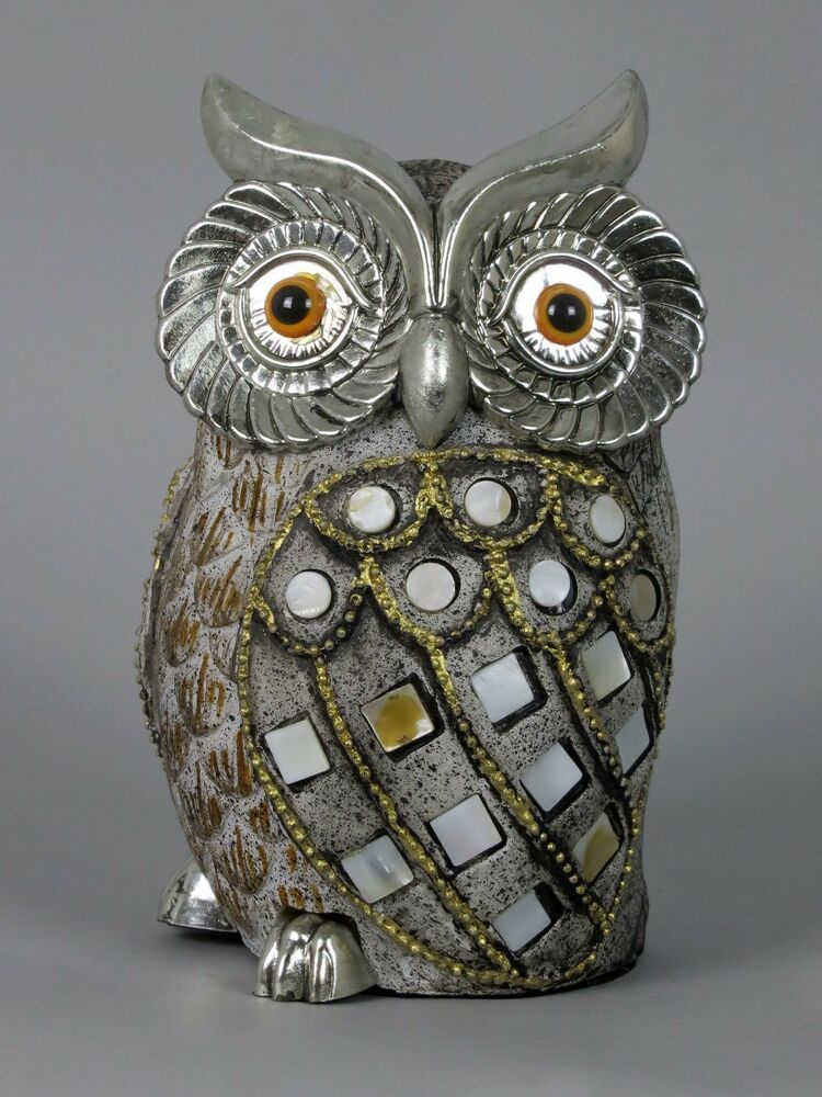 Quirky owl ornament figurine gold bronze silver shell disk for Quirky ornaments uk
