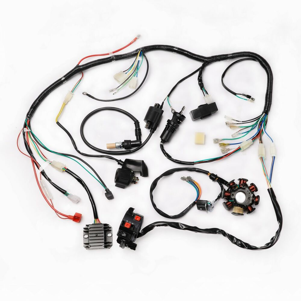 complete electrics wiring harness chinese dirt bike 200cc. Black Bedroom Furniture Sets. Home Design Ideas