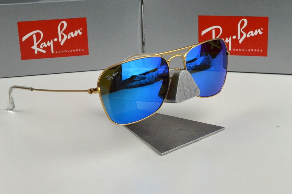 6802595d76b0 Details about NEW Ray-Ban Caravan Gold Blue Mirror RB3136 112 17 Sunglasses  55mm