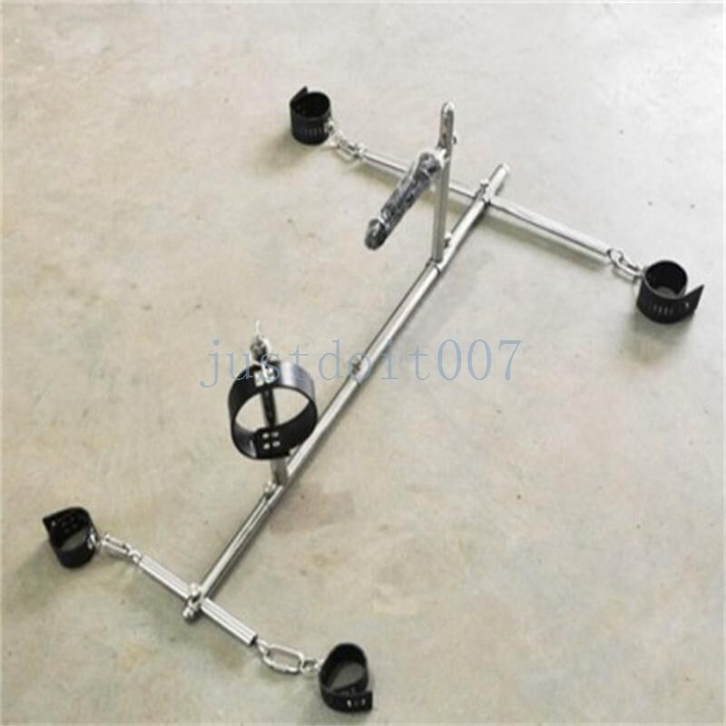 Slave Play Rack Steel Frame Spreader Bar Leather Collar Restraint Cuffs Lockable  Ebay-7024