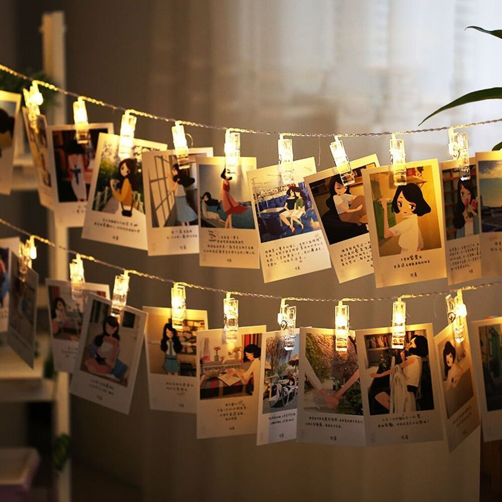 10 leds hanging string lights with photo display clips for - String lights for bedroom ...