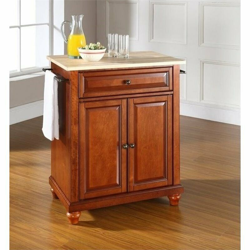 Bowery Hill Natural Wood Top Kitchen Island In Cherry