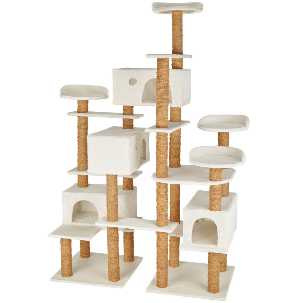 xxl arbre chat griffoir grattoir jouet jeux meuble 214cm pour chats blanco ebay. Black Bedroom Furniture Sets. Home Design Ideas