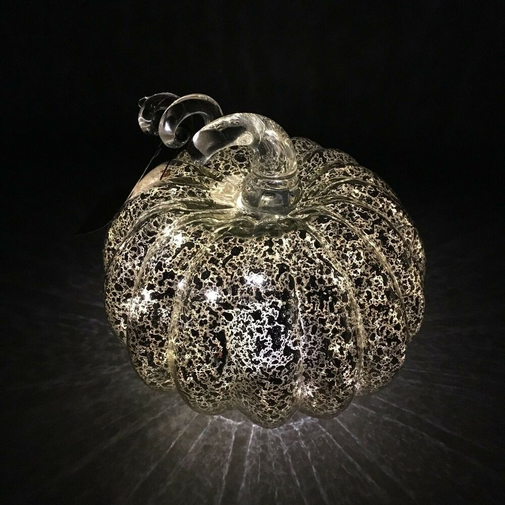 Halloween Window Decorations: Silver Mercury Glass Lighted LED Pumpkin Thanksgiving