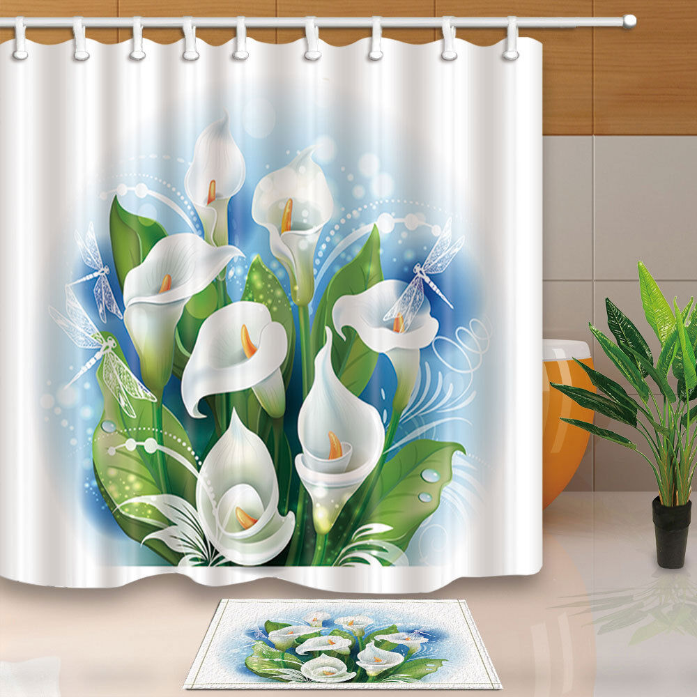 Details About Floral Flower Fabric Shower Curtain Set Calla Lily Dragonfly Bathroom