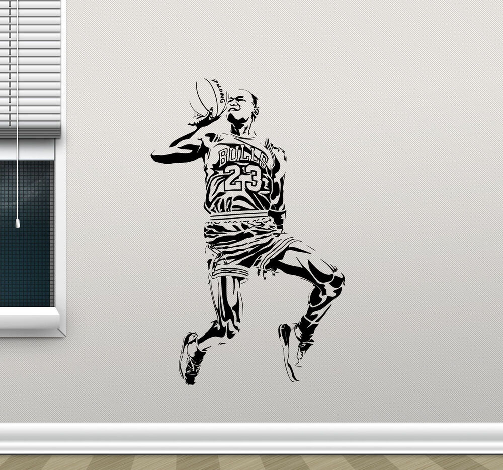 Michael jordan wall decal basketball vinyl sticker art for Basketball wall decals