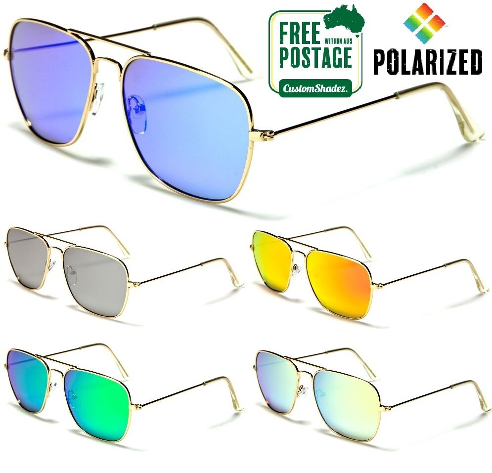 Details about Air Force Polarised Sunglasses - Square Aviator Frame -  Polarized Mirror Lens 8781733bf79