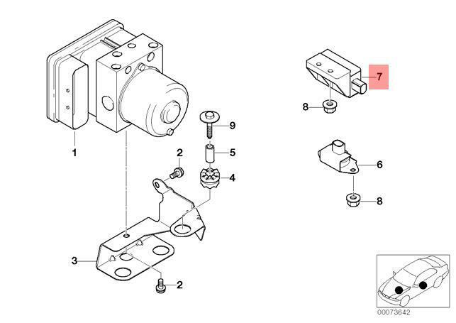 Genuine Bmw E46 Z3 Compact Dsc Rate Rotational Speed Sensor Oem