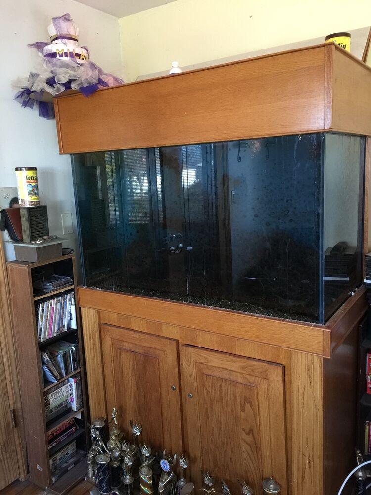 150 gallon fish tank 75 gallon wet dry filter 2 stands and canopy ebay. Black Bedroom Furniture Sets. Home Design Ideas