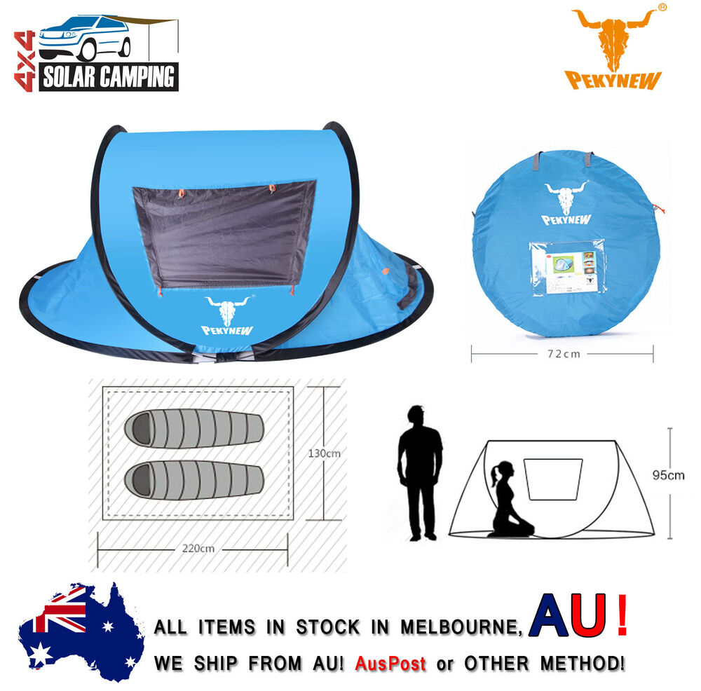 c8a8924d1d4 Details about 2 Person One Touch Pop-Up Tent Waterproof UV Protection Instant  Set-Up D-Door