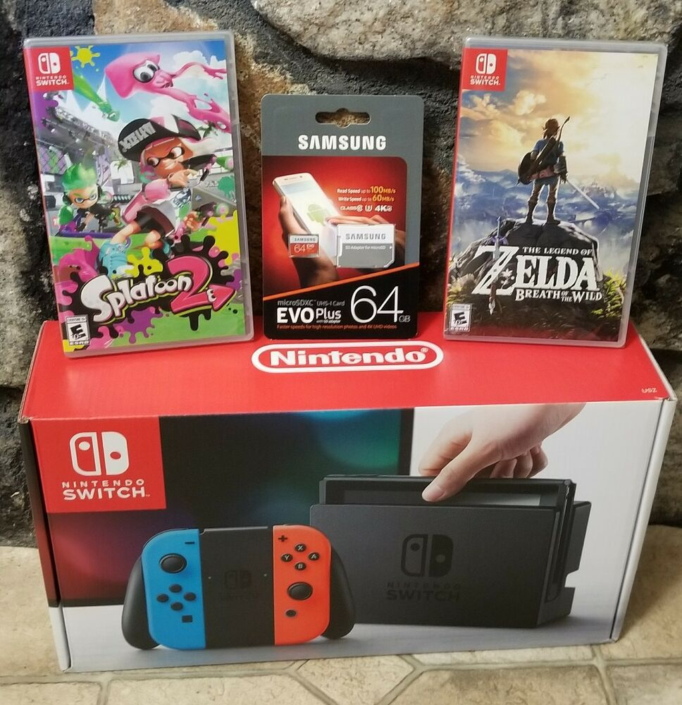 Nintendo Switch Bundle Console ( Neon Joy Cons) , Splatoon ...