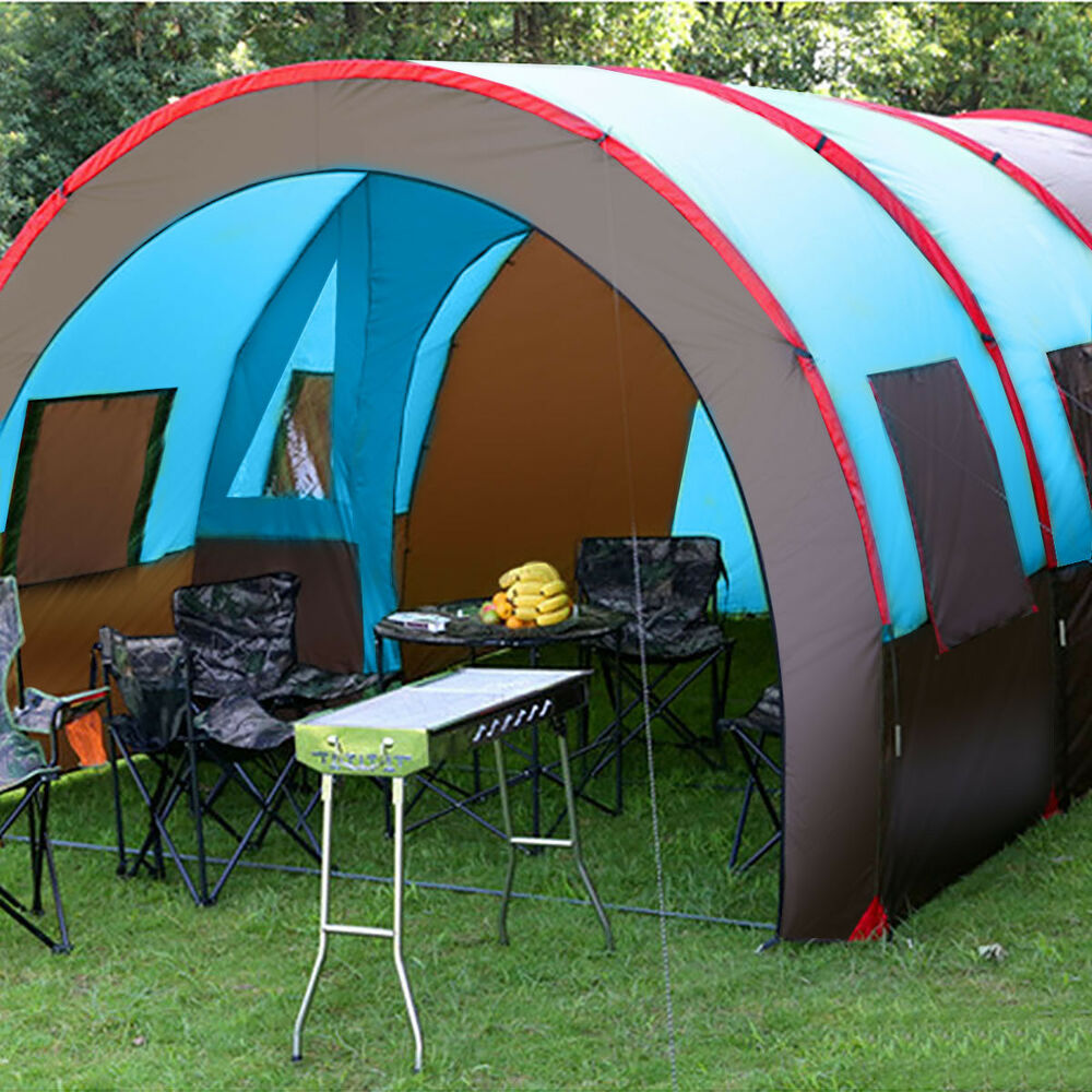 8 10 person waterproof tunnel tent camping outdoor party family travel hiking ebay