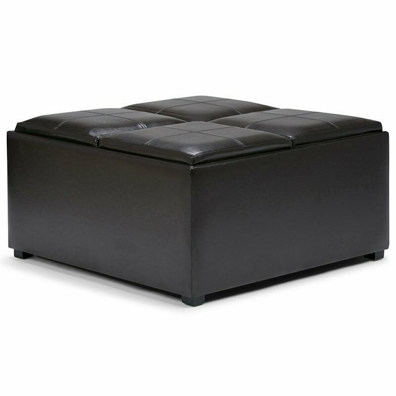Coffee Table With Storage Ebay: Simpli Home Avalon Faux Leather Coffee Table Storage