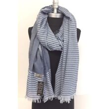 Men's Long Scarf Wrap Light-weight woven Stripe and solid w/ Fringe Blues Soft