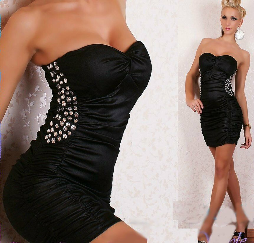 sexy miss damen glamour steine mini kleid wet leder look schwarz 34 36 38 top ebay. Black Bedroom Furniture Sets. Home Design Ideas