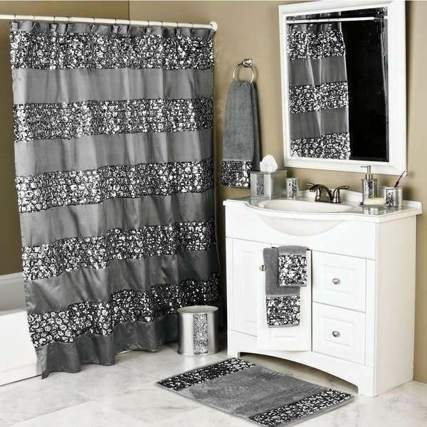 New Silver Gray Sequin Glam Shower Curtain Fabric Bathroom