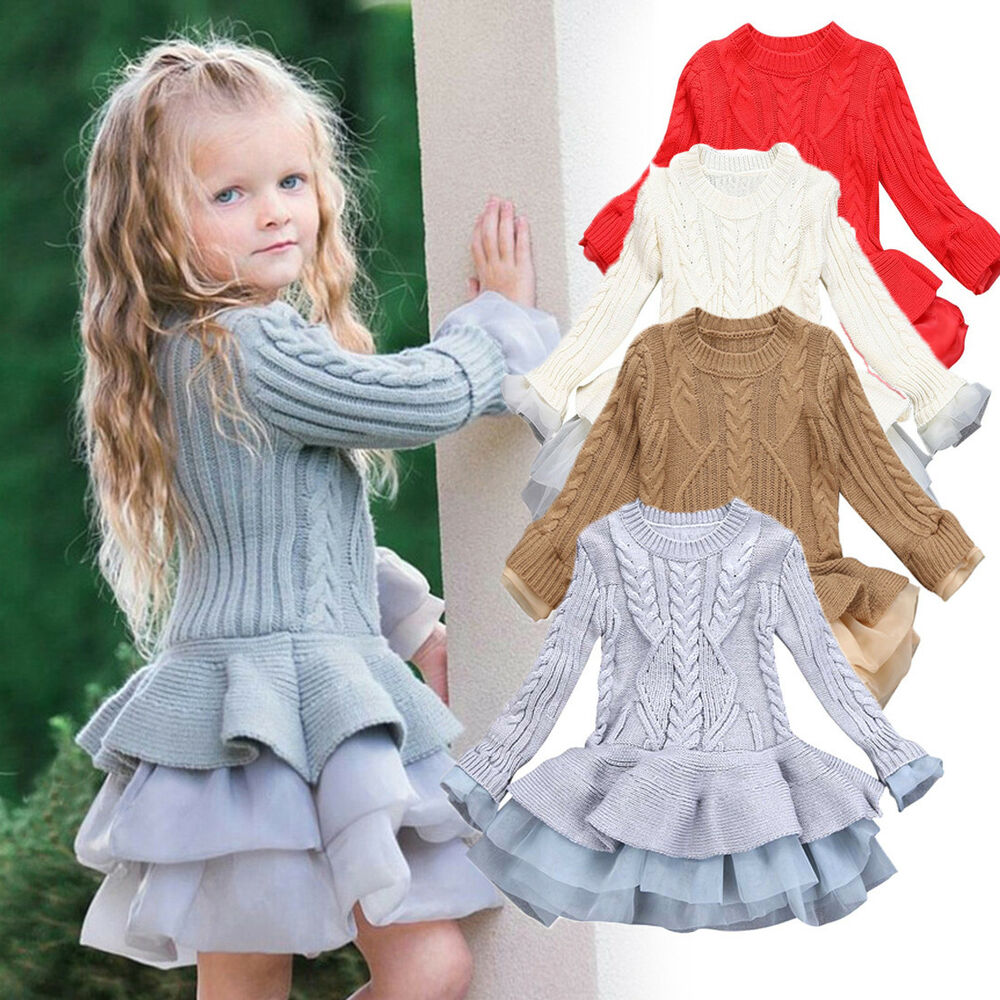Kids Girls Baby Knitted Sweater Winter Pullovers Crochet