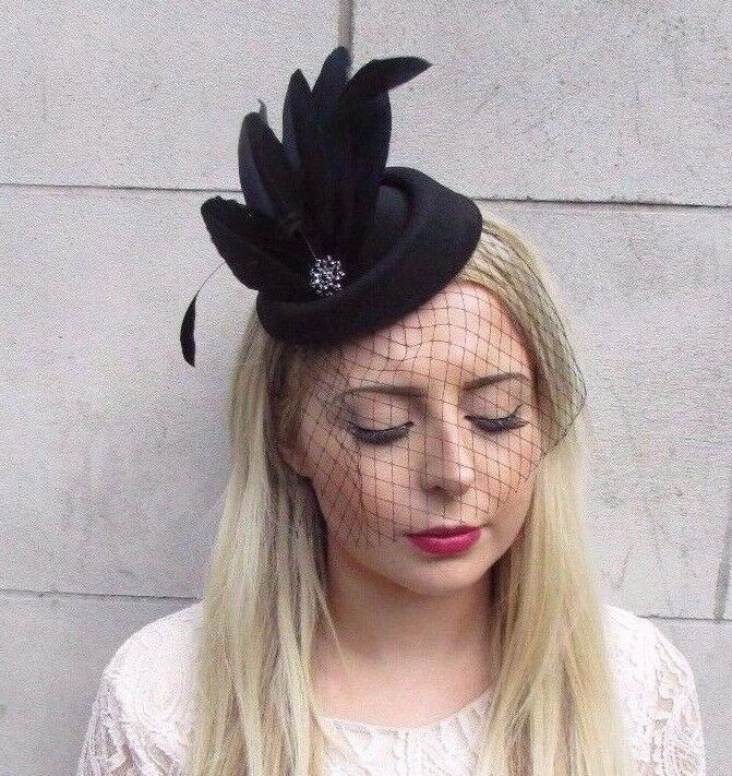 1000 Images About Black Fascinator On Pinterest: Black Veil Feather Pillbox Hat Hair Fascinator Races