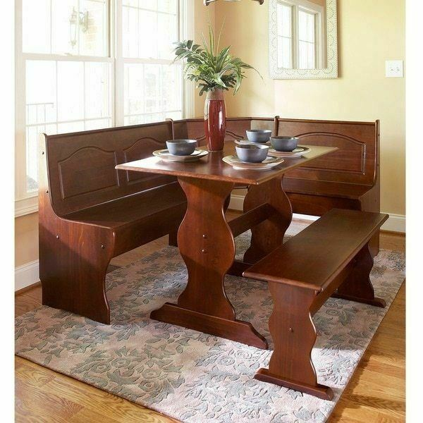 Walnut Kitchen Table: 3 Pc Walnut Wooden Breakfast Nook Dining Set Corner Booth