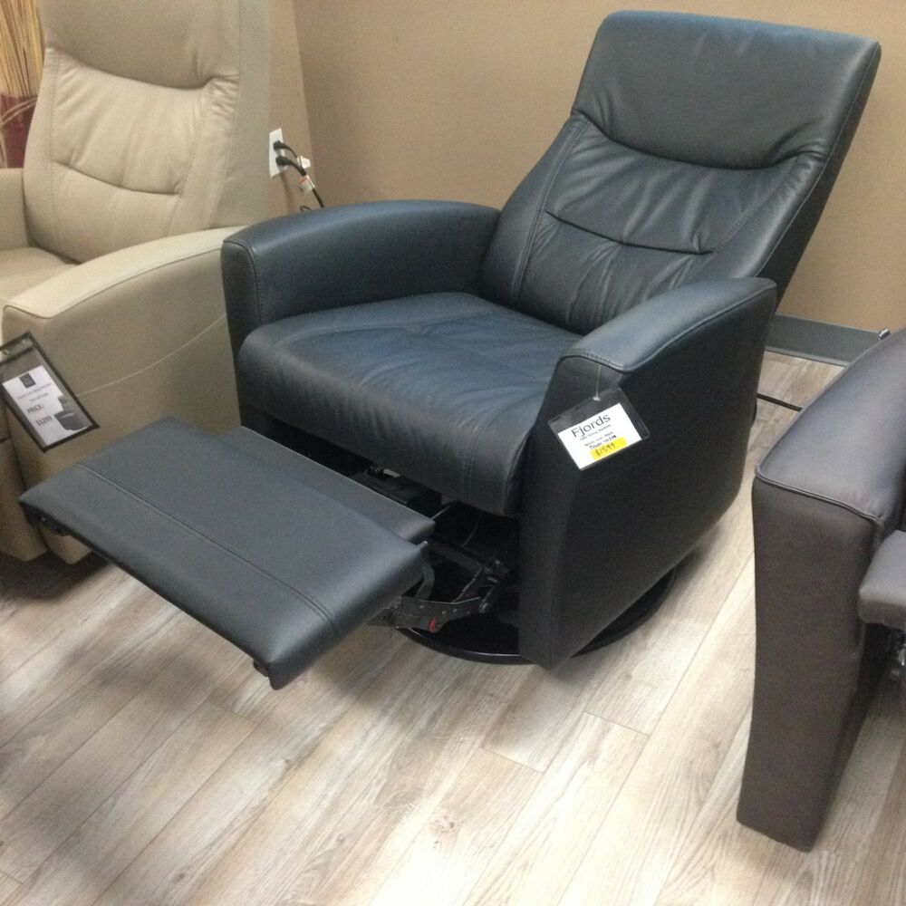 Details About Fjords Oslo Large Swing Relaxer Manual Recline Recliner Chair  Black NL Leather
