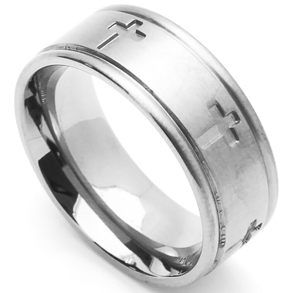 Stainless Steel Mens Wedding Band Ring 8mm: Men Fashion 8MM Comfort Fit Stainless Steel Wedding Band